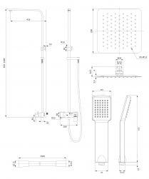 Apure zestaw prysznicowy z deszczownicą ścienny chrom AP2244CR