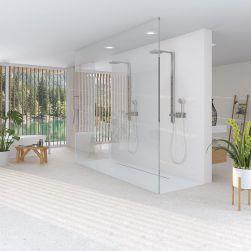 Łazienka z dużą kabiną prysznicową i dwoma prysznicami, białą wanną wolnostojącą, kwiatami i płytkami Miscela-R Nacar