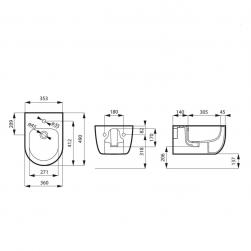 rysunek techniczny Bidet wiszący MOLIS MATT GREY