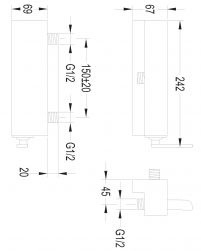 Cascade bateria prysznicowa ścienna chrom CA4040CR