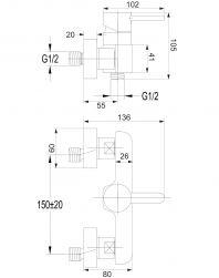 Darling bateria prysznicowa ścienna chrom DA5040CR