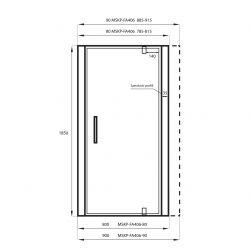 rysunek techniczny Drzwi prysznicowe VERRE 80