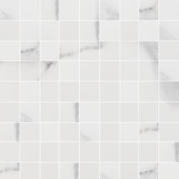 mozaika biało szara na siatce Godina Mosaic Malla argenta