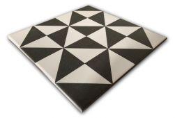 płytka podłogowa czarno biała vives Terrades Grafito 20x20
