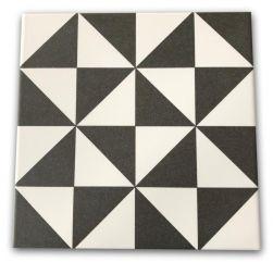 czarno białe płytki geometryczne Terrades Grafito 20x20 Vives
