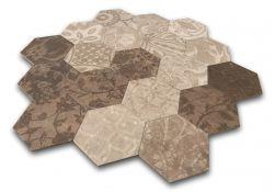 płytki heksagon beżowe brązowe Hexagon Patchword Warm Argenta