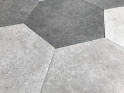 Hexagonalne szare płytki do mieszkania Hexagon Multi Cold argenta