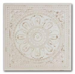 Biała płytka z wypukłym dekorem i postarzaną powierzchnią Gatsby White Tin 20,1x20,1 wzór 1