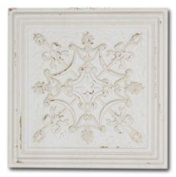 Biała płytka z wypukłym dekorem i postarzaną powierzchnią Gatsby White Tin 20,1x20,1 wzór 3