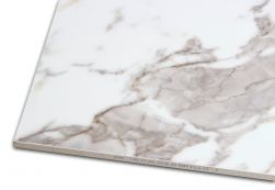 Płytka imitująca marmur biało-szara Veins Gold Brillo 60x120 zbliżenie na kant