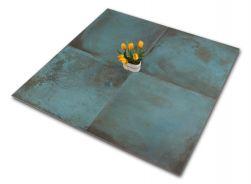 Cztery płytki metalizowane turkusowe z kwiatkiem Trace Mint 60x60