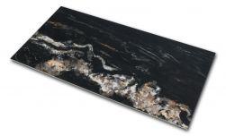Płytka gresowa imitująca marmur czarna z połyskiem Leeds Negro 60x120