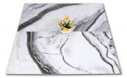 Dwie płytki matowe z ozdobnym kwiatem imitujące marmur biało-czarne At.Shu Mate 60x120