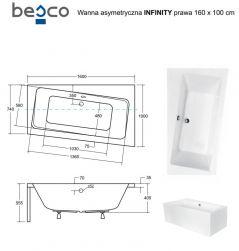 Wanna narożna asymetryczna Infinity 160x100