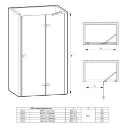 rysunek techniczny Drzwi prysznicowe Lapaz 80 cm