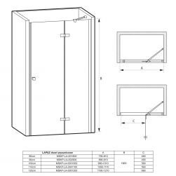 rysunek techniczny Drzwi prysznicowe LAPAZ 90 cm
