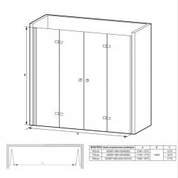rysunek techniczny Drzwi prysznicowe podwójne Monteo 195cm