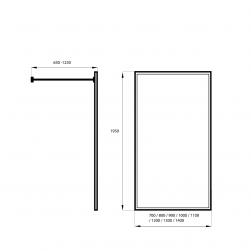 rysunek techniczny Kabina prysznicowa WALK IN 70cm BLACK