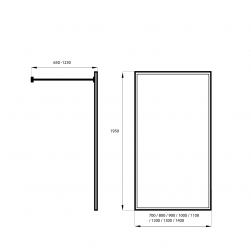 rysunek techniczny Kabina prysznicowa WALK IN 90cm BLACK