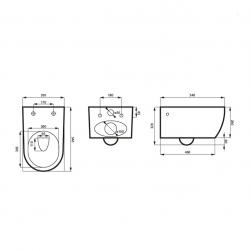 Miska wisząca MOLIS MATT YASMIN + deska SLIM rysunek techniczny