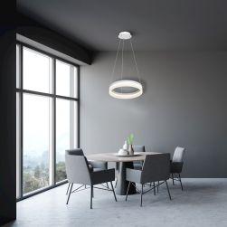 LAMPA WISZĄCA RING 24W LED w szarej jadalni w szarymi meblami