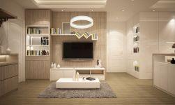 LAMPA WISZĄCA RING 24W LED w jasnym salonie z drewnianymi meblami