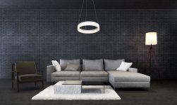 LAMPA WISZĄCA RING 24W LED w grafitowym salonie z szarymi meblami