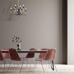 Żyrandol REX 8xE14 w beżowej jadalni z ceglastymi krzesełkami