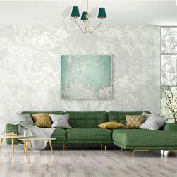 Żyrandol VICTORIA 3xE27 w szarym salonie z zieloną kanapą
