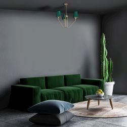 Żyrandol VICTORIA 3xE27 w grafitowym salonie z zieloną kanapą