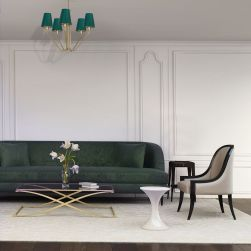 Żyrandol VICTORIA 5xE27 w beżowym salonie z zieloną kanapą