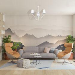 Żyrandol VICTORIA WHITE 3xE27 w salonie z tapetą na ścianie imitującą góry i szarą kanapą
