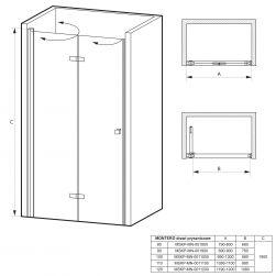 rysunek techniczny Drzwi prysznicowe składane MONTERO 100 cm