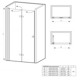 rysunek techniczny Drzwi prysznicowe składane MONTERO 110 cm