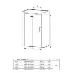 rysunek techniczny Drzwi prysznicowe przesuwne MOSA SYSTEM 130
