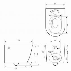 rysunek techniczny Miska wisząca Loca Mini Rimless+ deska Slim