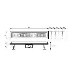 rysunek techniczny Odpływ liniowy BARO G023 100cm