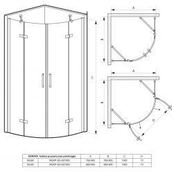 rysunek techniczny Kabina prysznicowa półokrągła SORATA 80 cm