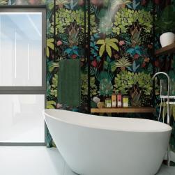 łazienka z wanną wolnostojącą bellis na tle ściany z płytek paper41