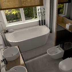 łazienka Wanna wolnostojąca WALL 170cm z przelewem