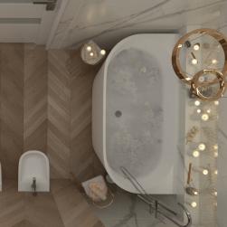 łazienka widok z góry z Wanna wolnostojąca WALL 170cm z przelewem