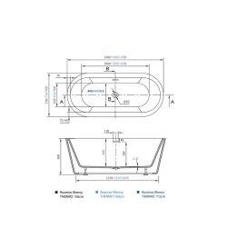 rysunek techniczny Wanna wolnostojąca Thermo Black 160cm