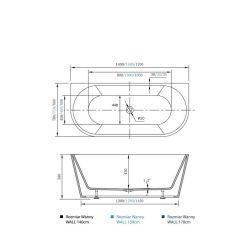 rysunek techniczny Wanna wolnostojąca WALL 170cm z przelewem