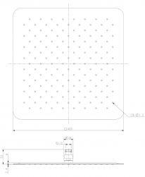 rysunek techniczny Ultra Slimline deszczownica kwadratowa 40 cm chrom WGU240CR