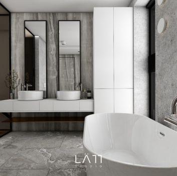 Szara łazienka z wanną wolnostojącą, czarnym prysznicem i toaletą