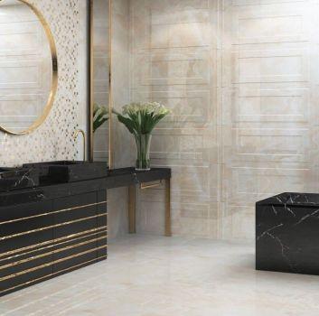 Beżowa łazienka z czarną wanną wolnostojącą, czarnym blatem z dwoma umywalkami nablatowymi i oknem