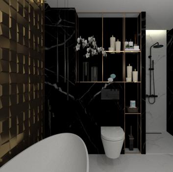 Czarno-złota łazienka z prysznicem, toaletą oraz wanną wolnostojącą