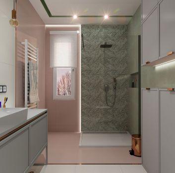 Szaro-różowa łazienka z prysznicem, toaletą oraz szarą szafką z umywalką nablatową