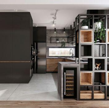 Betonowa kuchnia z grafitowymi meblami, geometrycznymi półkami i oknem