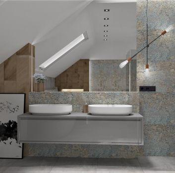 Multikolorowa łazienka z szarą półką z dwoma umywalkami nablatowymi, prysznicem oraz wanną wolnostojącą